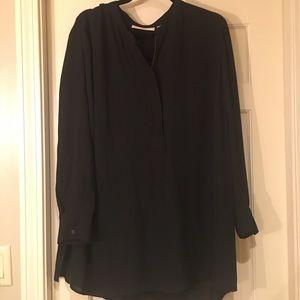 Black blouse with gold zipper neck detail